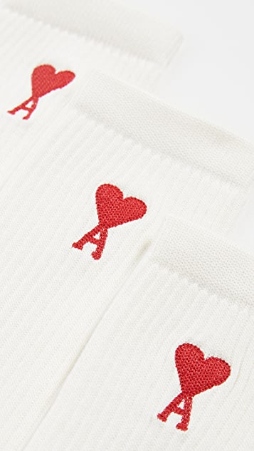 AMI Three-Pack Ami De Coeur Crew Socks