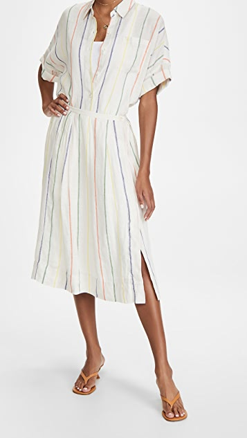 Alex Mill Midi Skirt In Multi Stripe Linen