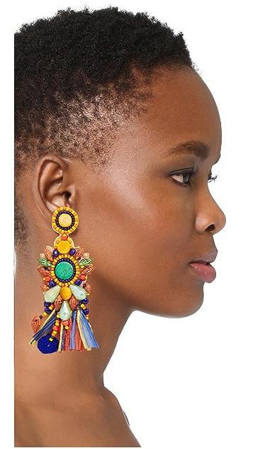 All Things Mochi African Raffia Circle Earrings
