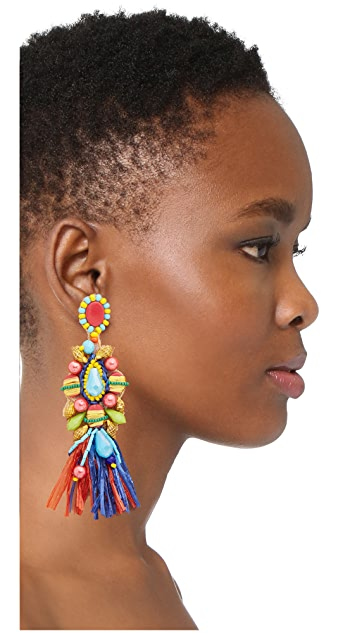 All Things Mochi African Raffia Circle Earrings