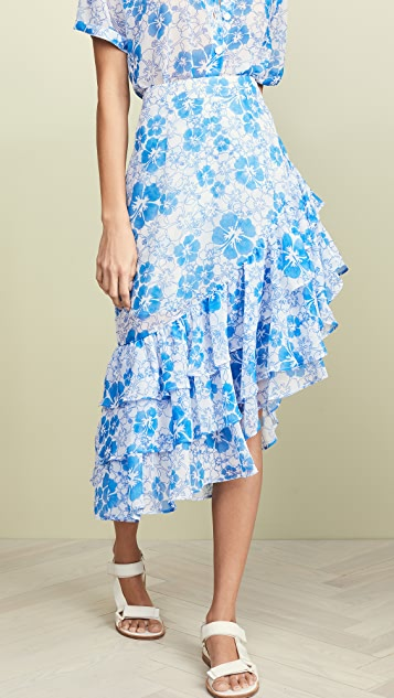All Things Mochi Ebony Skirt - Blue Floral
