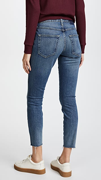 AMO High Rise Twist Jeans with Fray