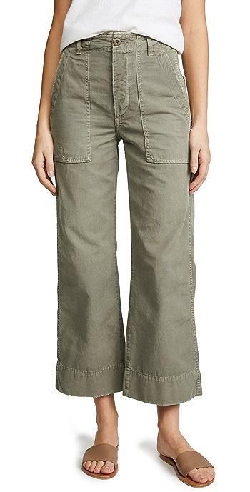 AMO Army Wide Leg Pants - Grey Green