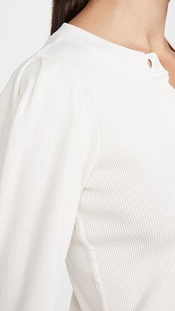 AMO 泡泡袖系扣衫