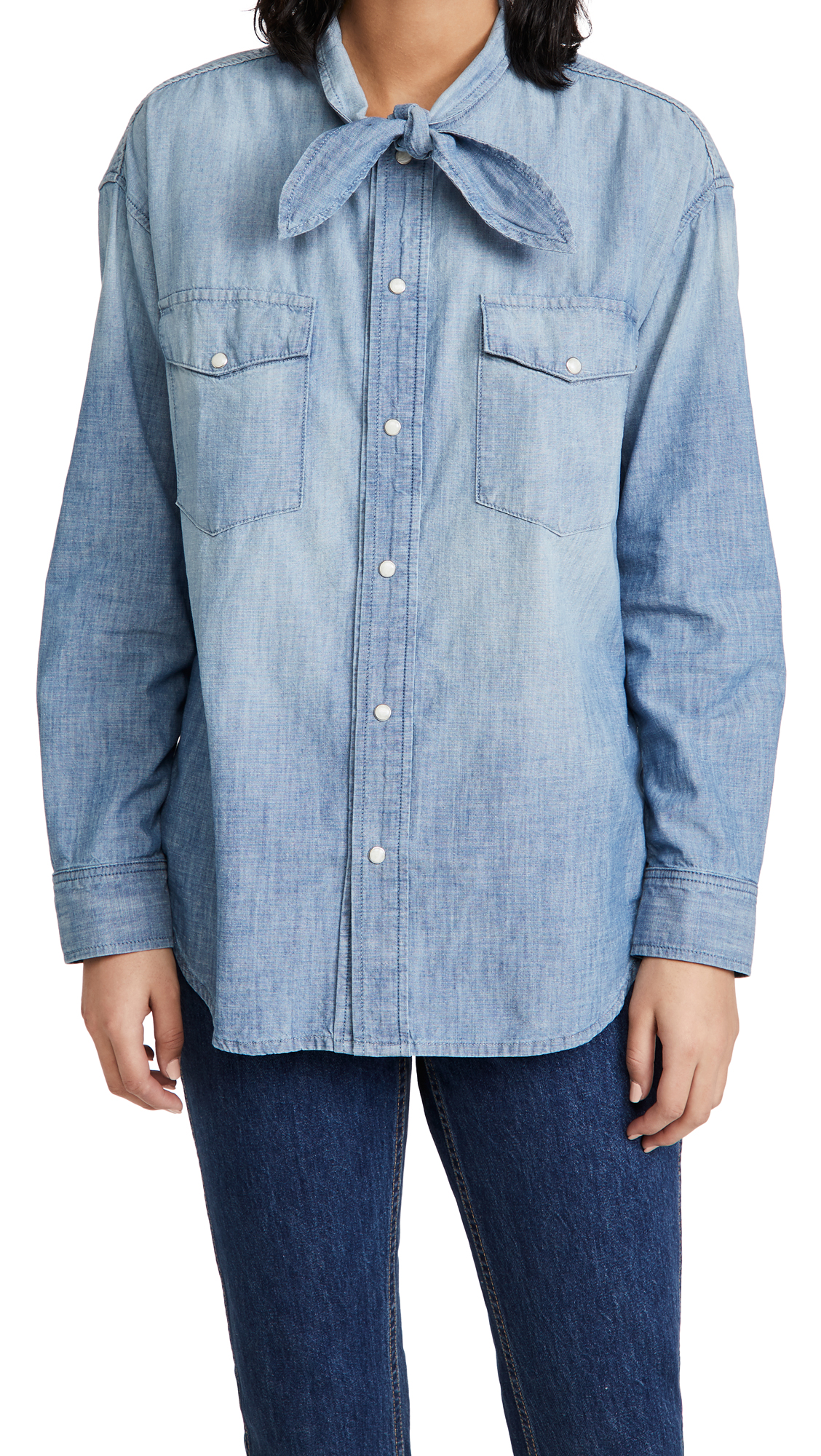 AMO Tie Neck Chambray Shirt