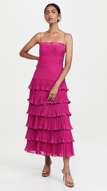 AMUR Chiffon Pleated Ruffle Midi Dress