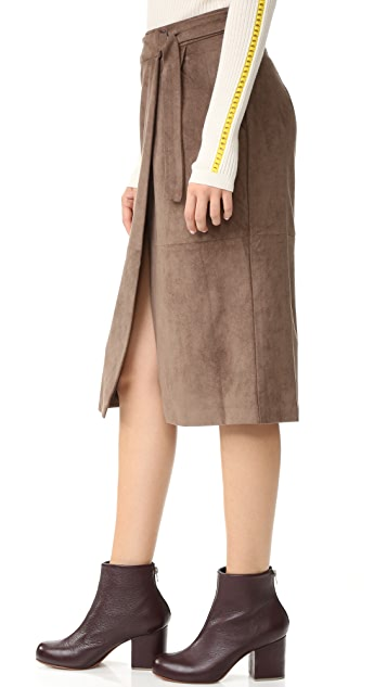 And B Ring Buckle Midi Skirt