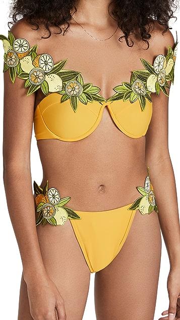Andrea Iyamah Mona Embroidered Bikini Top