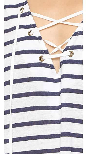 ANINE BING Linen Top with Laces
