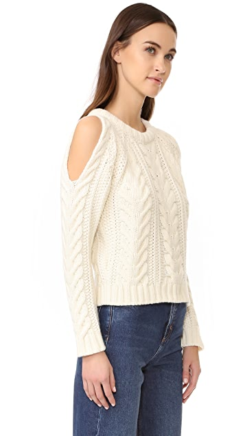 ANINE BING Cut Out Shoulder Sweater