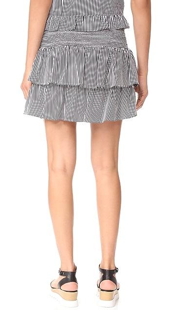 ANINE BING Striped Silk Skirt