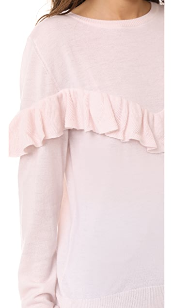 ANINE BING Cashmere Ruffle Sweater