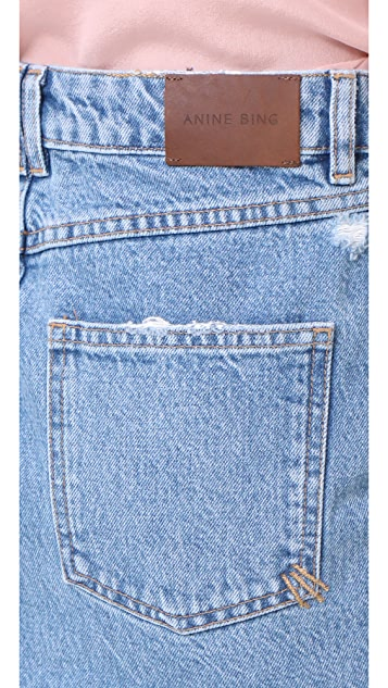 ANINE BING Raw Hem Denim Skirt