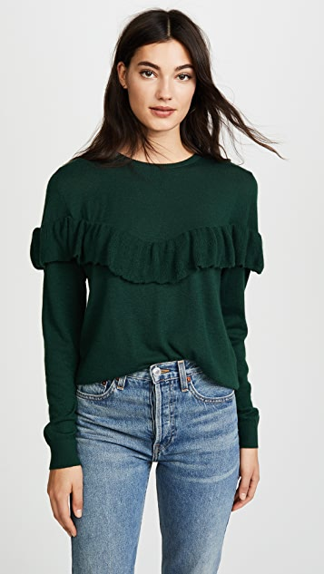 ANINE BING Cashmere Ruffle Knit Sweater