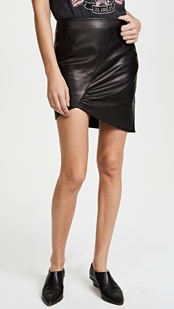ANINE BING Asymmetric Leather Skirt