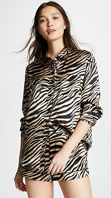 ANINE BING Vivienne Silk Pajama Shirt
