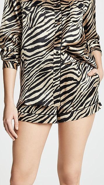 ANINE BING Diane Silk Pajama Shorts ... 969bcc21e