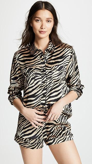 ANINE BING Diane Silk Pajama Shorts
