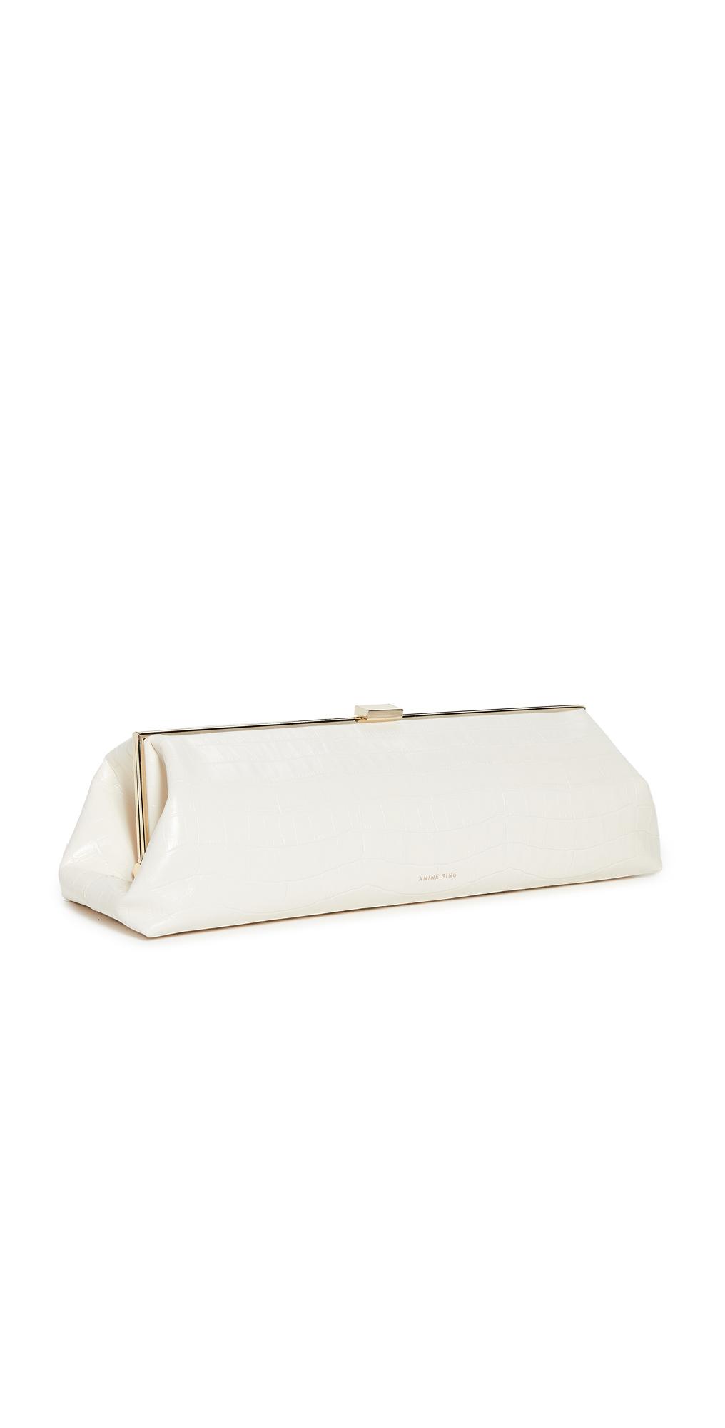 ANINE BING Kiara Clutch Off White Croco Bag