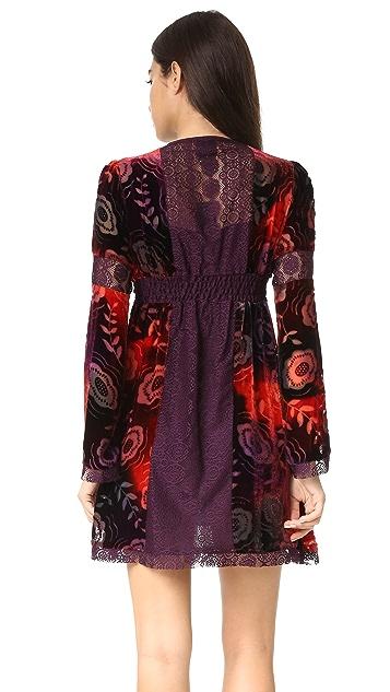 Anna Sui Tie Dye Poppy Burnout Velvet & Lace Dress