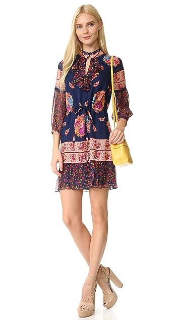Anna Sui Bouquet Scarf Print Silk Dress