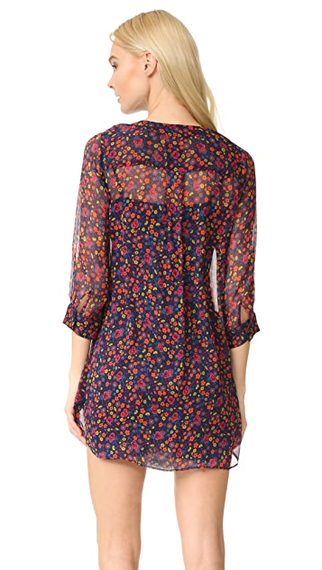 Anna Sui Pansy Print Crinkle Chiffon Shirtdress