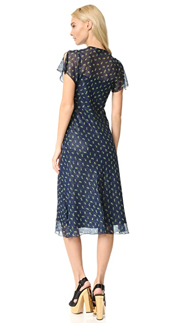 Anna Sui Rosebud Print Metallic Crinkle Chiffon Midi Dress