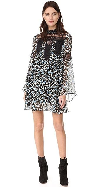 Anna Sui Clover Flower Mock Neck Dress