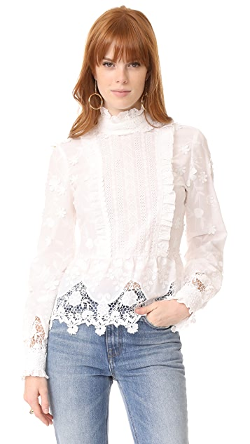 Anna Sui Daisy Fields Eyelet Top