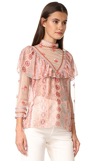 Anna Sui Digital Lace Chiffon Top