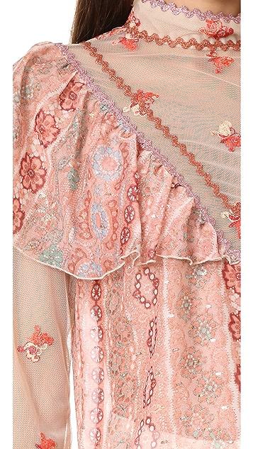 Anna Sui Digital Lace Chiffon Top