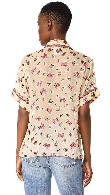 Anna Sui Bouquet & Bows Burnout Chiffon Shirt