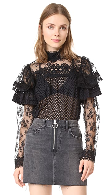 Anna Sui Bold Shoulder Lace Blouse