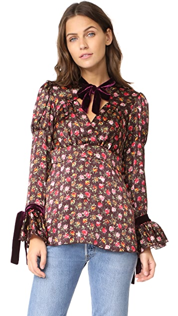 Anna Sui Rosebuds Charmeuse Blouse