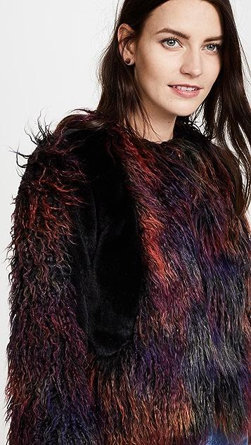 Anna Sui Rainbow Mongolian Faux Fur Jacket