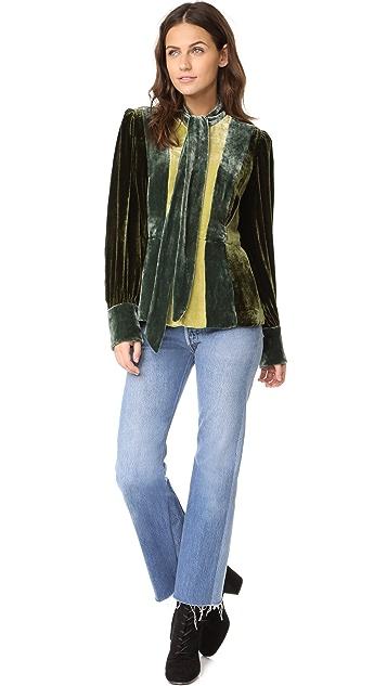 Anna Sui Vintage Velvet Colorblock Jacket