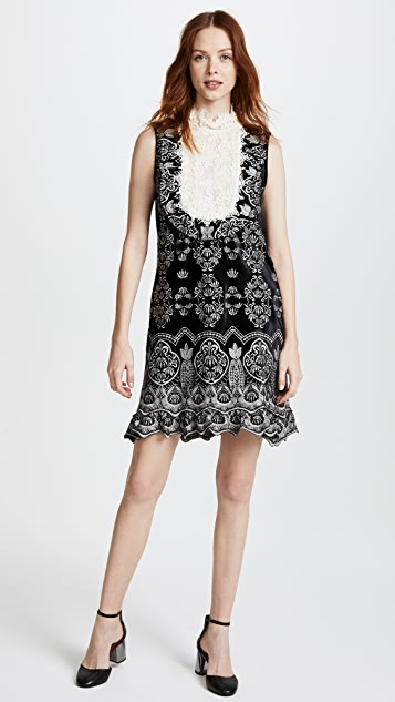 Anna Sui Embroidered Victorian Velvet Dress