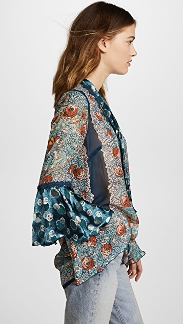Anna Sui Flower Child Panel Chiffon Tunic