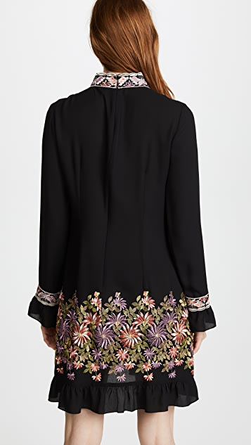 Anna Sui Daisy Embroidered Georgette Dress