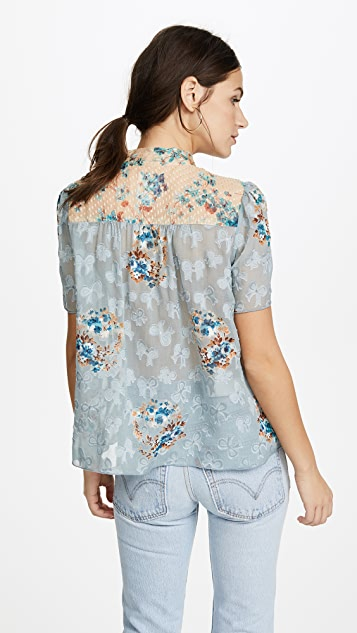 Anna Sui Decoupage Rose Border & Violets Jacquard Top