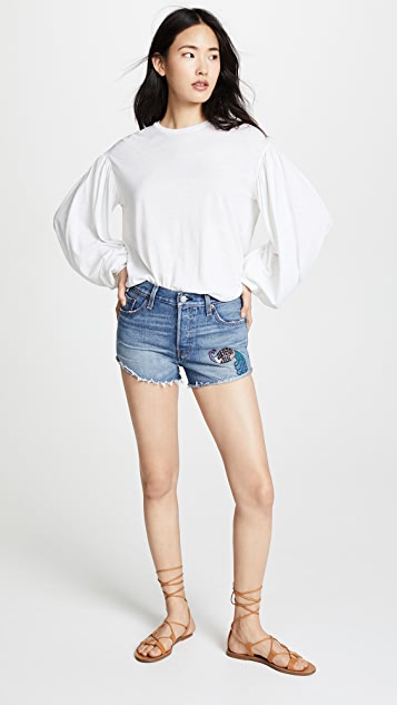 Anna Sui Levi's x Anna Sui Peacock Patch & Rising Sun Shorts