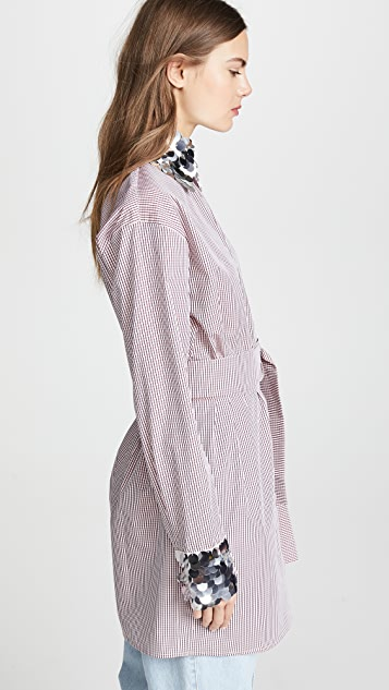 Anouki Check Loose Tie Waist Shirt with Silver Cuffs
