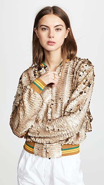 Anouki Sparkly Bomber Jacket with Cutout Back