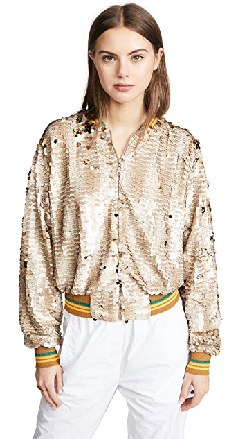 Anouki Sparkly Silver Bomber Jacket with Cutout Back