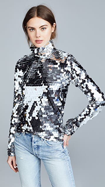 Anouki Silver Sequin Turtleneck - Silver