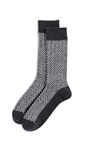 Anonymous Ism Wool Herringbone Crew Socks