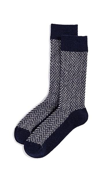 Anonymous Ism Wool Herringbone Crew Socks