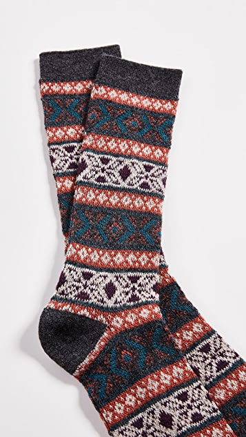 Anonymous Ism Wool Jacquard Crew Socks