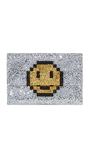 Anya Hindmarch Valorie Pixel Smiley Clutch
