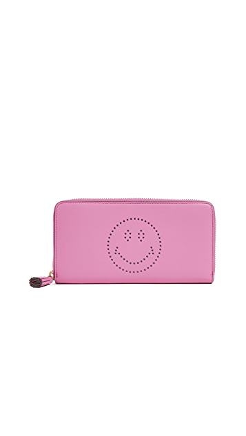 Anya Hindmarch Large Zip Round Smiley Wallet